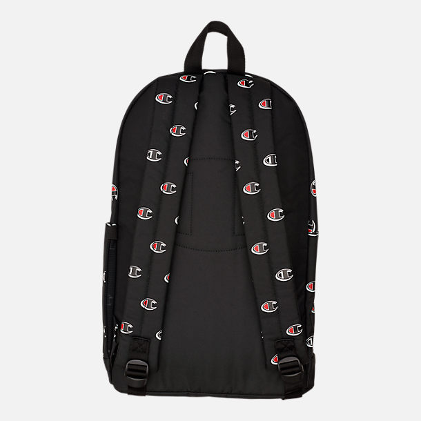 Back view of Champion Supercise Allover Print Backpack in Black