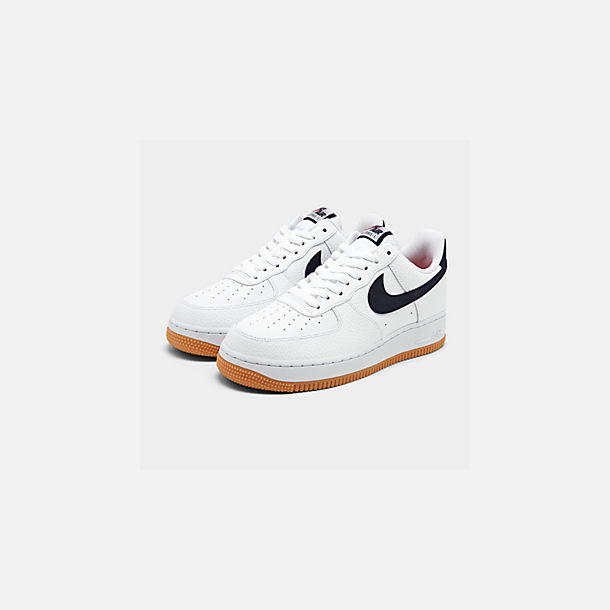 Three Quarter view of Men's Nike Air Force 1 '07 Casual Shoes in White/Obsidian/University Red