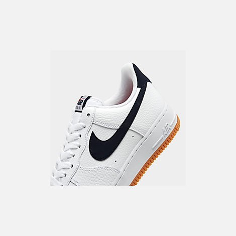 Front view of Men's Nike Air Force 1 '07 Casual Shoes in White/Obsidian/University Red