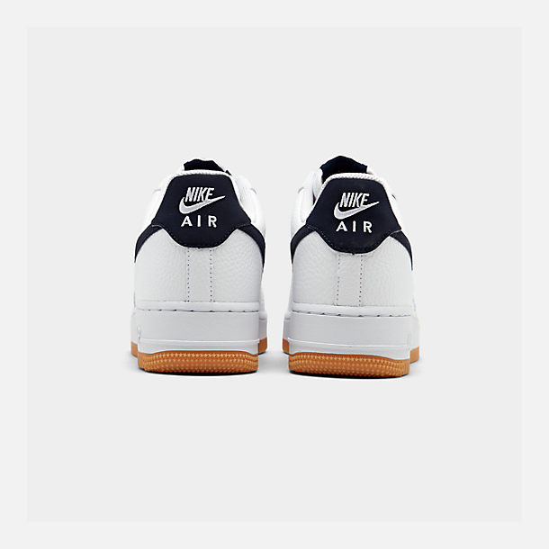 Left view of Men's Nike Air Force 1 '07 Casual Shoes in White/Obsidian/University Red