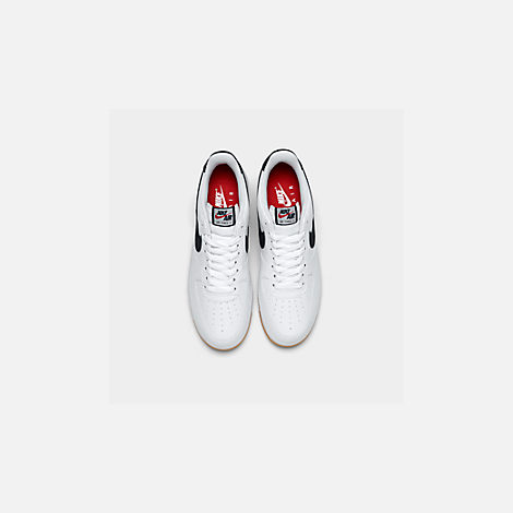 Back view of Men's Nike Air Force 1 '07 Casual Shoes in White/Obsidian/University Red
