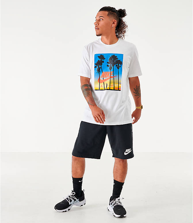Front Three Quarter view of Men's Nike Sportswear Sunset T-Shirt in White