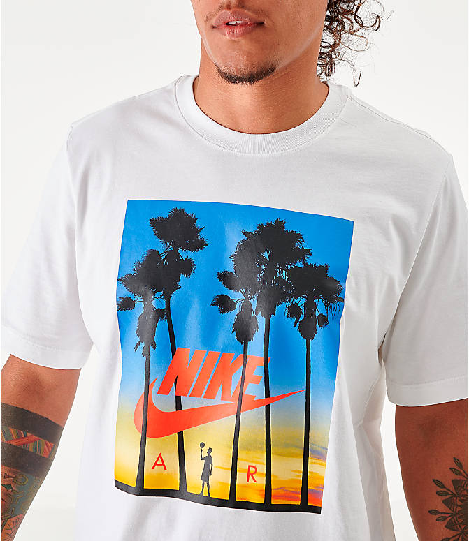 Back Right view of Men's Nike Sportswear Sunset T-Shirt in White