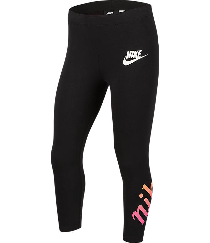 Front view of Girls' Nike Sportswear 3/4 Graphic Leggings in Black/White