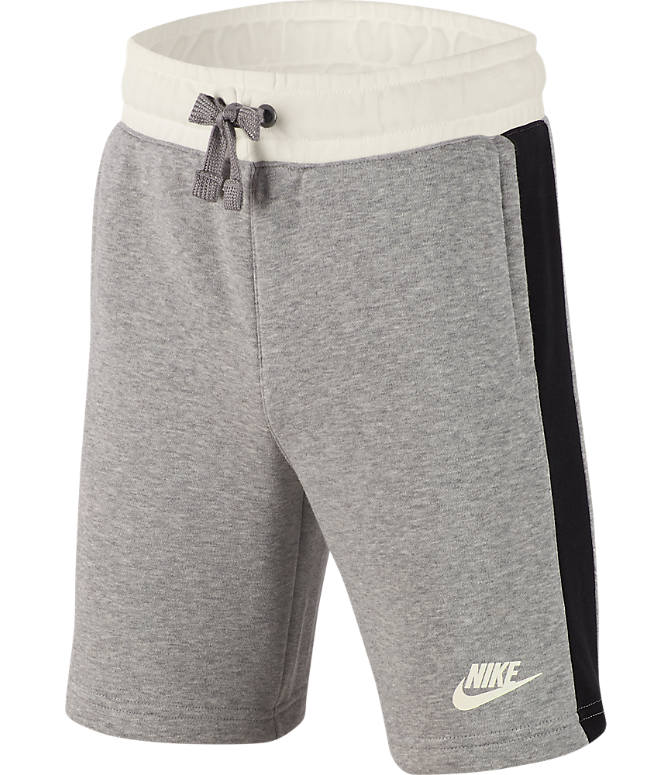Front view of Boys' Nike Air Shorts in Dark Grey Heather/Sail