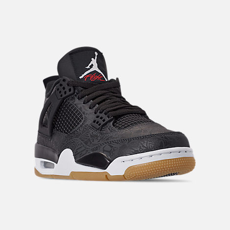 Three Quarter view of Men's Jordan Retro 4 SE Basketball Shoes in Black/White/Gum Light Brown