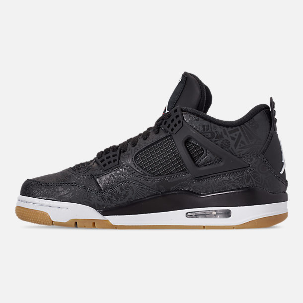 Left view of Men's Jordan Retro 4 SE Basketball Shoes in Black/White/Gum Light Brown