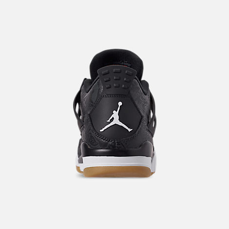 Back view of Men's Jordan Retro 4 SE Basketball Shoes in Black/White/Gum Light Brown