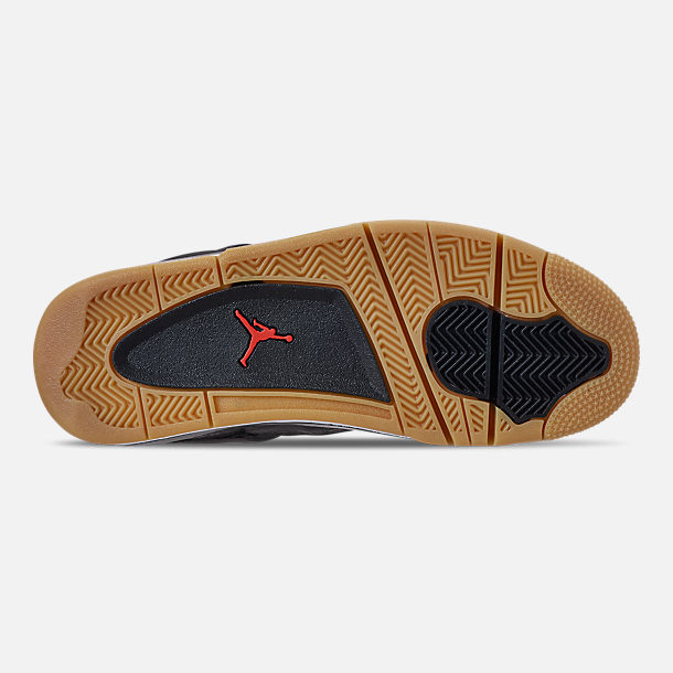 Bottom view of Men's Jordan Retro 4 SE Basketball Shoes in Black/White/Gum Light Brown