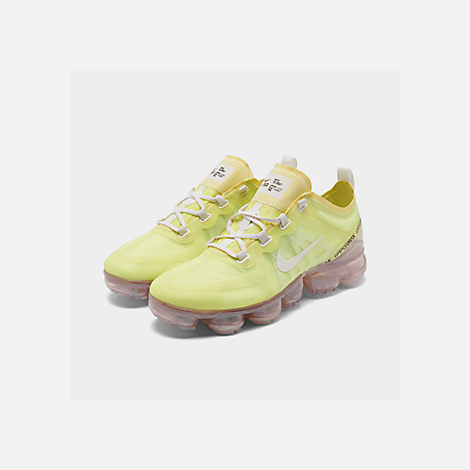 Three Quarter view of Women's Nike Air VaporMax 2019 SE Running Shoes in Luminous Green/Phantom/Meta
