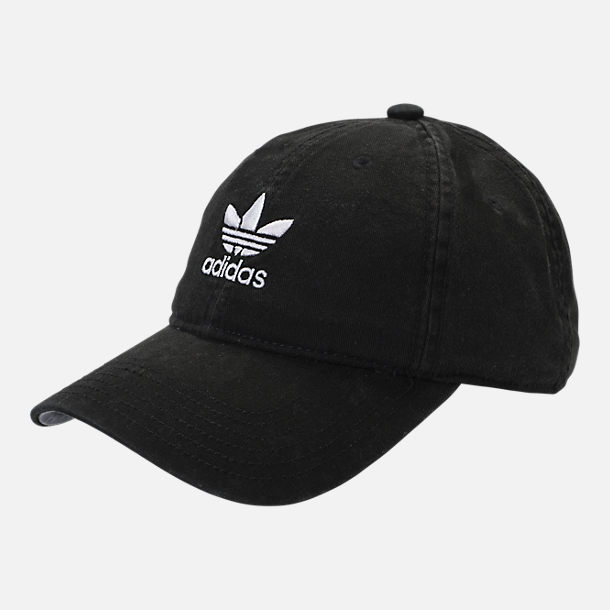 Front view of Kids' adidas Originals Relaxed Adjustable Hat in Black/White