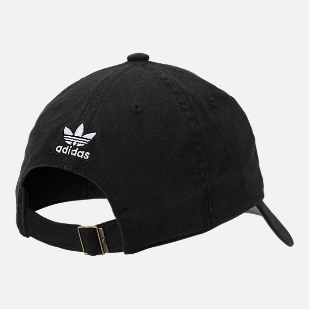 Back view of Kids' adidas Originals Relaxed Adjustable Hat in Black/White