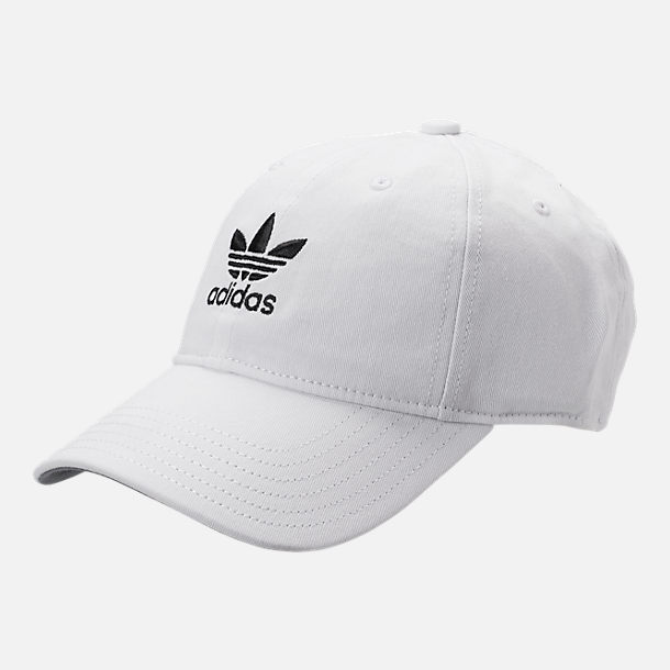 Front view of Kids' adidas Originals Relaxed Adjustable Hat in White/Black
