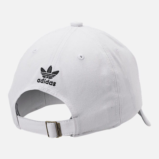 Back view of Kids' adidas Originals Relaxed Adjustable Hat in White/Black