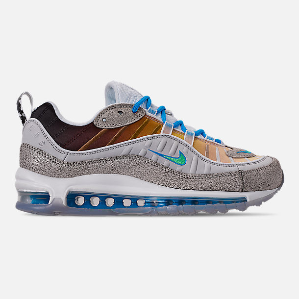 Right view of Boys' Big Kids' Nike Nike Air Max 98 On Air Gabrielle Serrano Casual Shoes in Vast Grey/Electro Green/Blue Hero/White