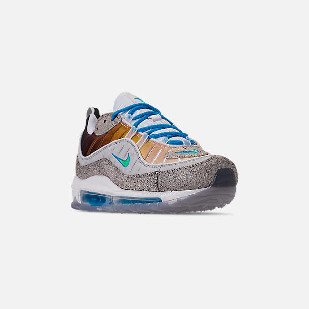 Three Quarter view of Boys' Big Kids' Nike Nike Air Max 98 On Air Gabrielle Serrano Casual Shoes in Vast Grey/Electro Green/Blue Hero/White