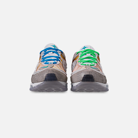 Front view of Boys' Big Kids' Nike Nike Air Max 98 On Air Gabrielle Serrano Casual Shoes in Vast Grey/Electro Green/Blue Hero/White
