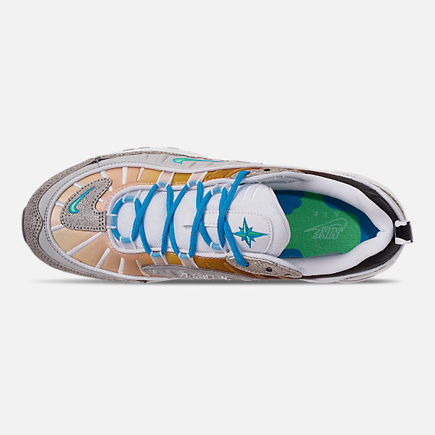 Top view of Boys' Big Kids' Nike Nike Air Max 98 On Air Gabrielle Serrano Casual Shoes in Vast Grey/Electro Green/Blue Hero/White