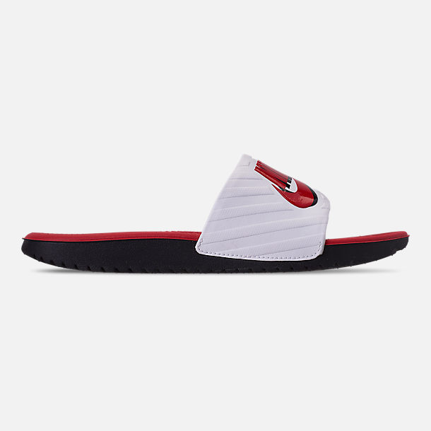 Right view of Boys' Big Kids' Nike Kawa JDI Slide Sandals in Black/University Red/White