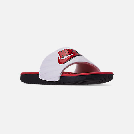 Three Quarter view of Boys' Big Kids' Nike Kawa JDI Slide Sandals in Black/University Red/White