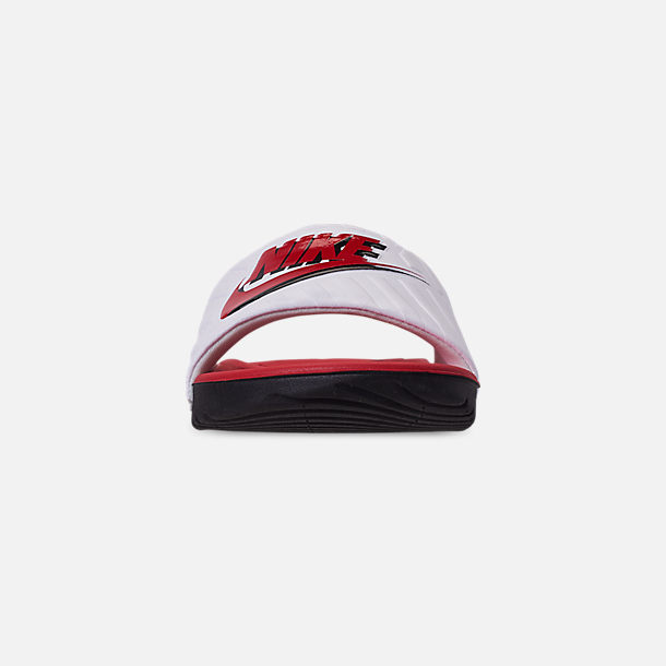 Front view of Boys' Big Kids' Nike Kawa JDI Slide Sandals in Black/University Red/White