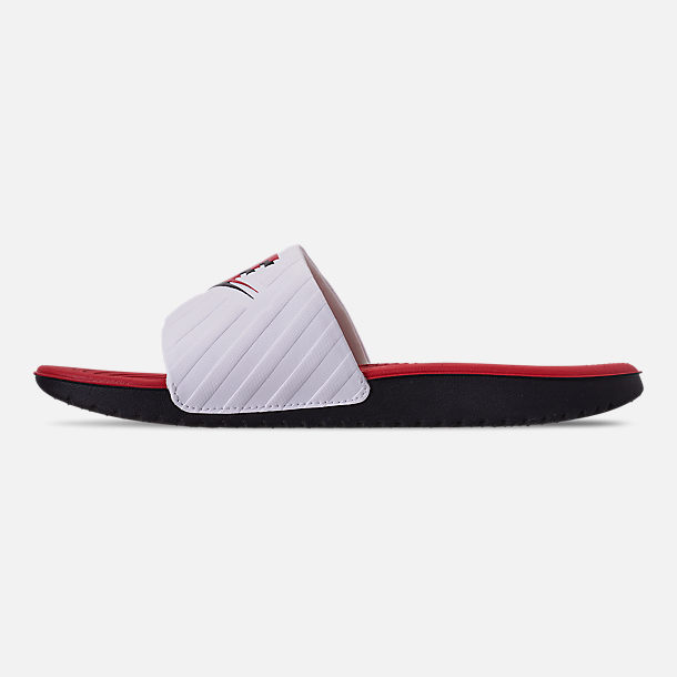 Left view of Boys' Big Kids' Nike Kawa JDI Slide Sandals in Black/University Red/White
