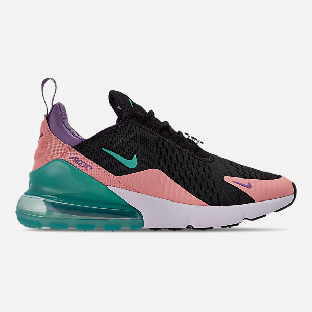 Right view of Men's Nike Air Max 270 Casual Shoes in Black/Hyper Jade/Bleached Coral