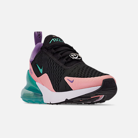 Three Quarter view of Men's Nike Air Max 270 Casual Shoes in Black/Hyper Jade/Bleached Coral