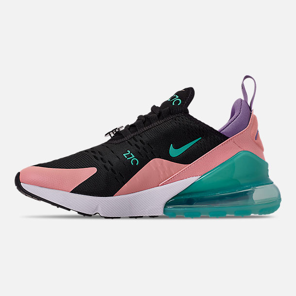 Left view of Men's Nike Air Max 270 Casual Shoes in Black/Hyper Jade/Bleached Coral