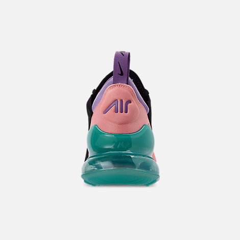 Back view of Men's Nike Air Max 270 Casual Shoes in Black/Hyper Jade/Bleached Coral