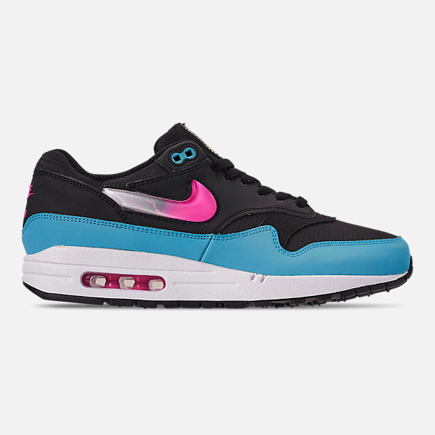 reputable site 74449 095ed Right view of Men's Nike Air Max 1 Casual Shoes in Light Blue/Laser Fuchsia