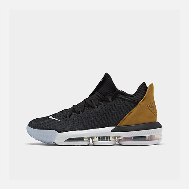 Right view of Men's Nike LeBron 16 Low Basketball Shoes in Black/Multi-Color/White/Wheat