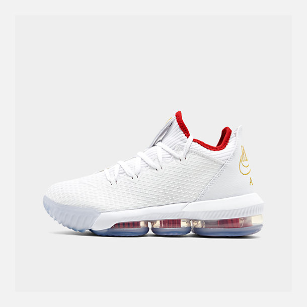Right view of Men's Nike LeBron 16 Low Basketball Shoes in White/Metallic Gold/University Red