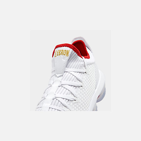 Front view of Men's Nike LeBron 16 Low Basketball Shoes in White/Metallic Gold/University Red