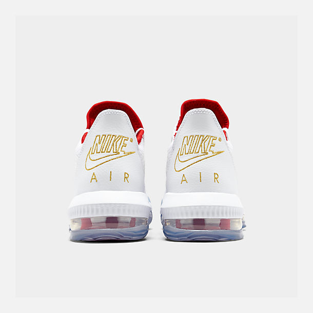 Left view of Men's Nike LeBron 16 Low Basketball Shoes in White/Metallic Gold/University Red