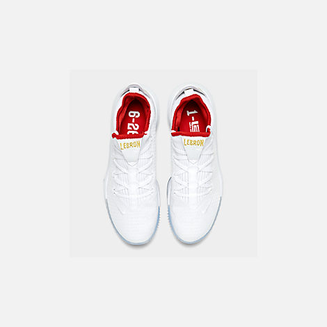 Back view of Men's Nike LeBron 16 Low Basketball Shoes in White/Metallic Gold/University Red