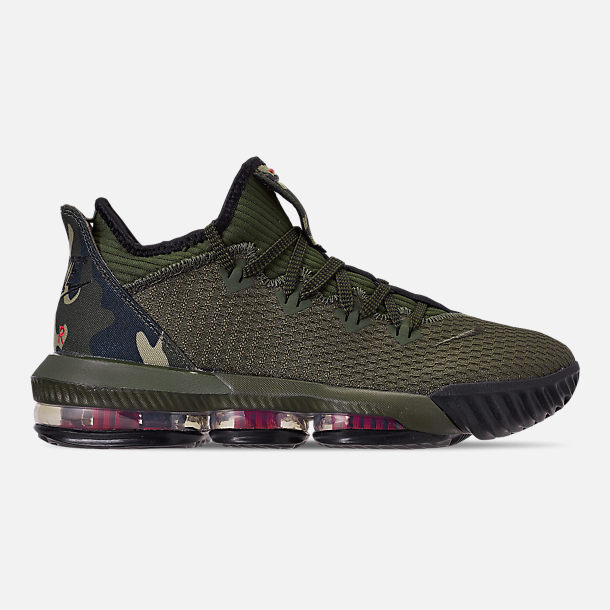 Right view of Men's Nike LeBron 16 Low Basketball Shoes in Cargo Khaki/Black/Neutral Olive