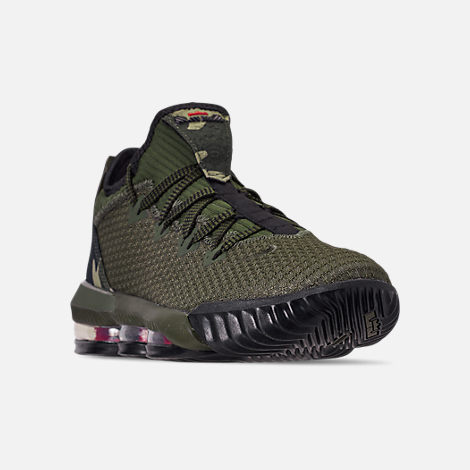 Three Quarter view of Men's Nike LeBron 16 Low Basketball Shoes in Cargo Khaki/Black/Neutral Olive