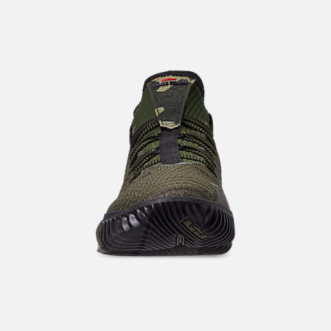 Front view of Men's Nike LeBron 16 Low Basketball Shoes in Cargo Khaki/Black/Neutral Olive