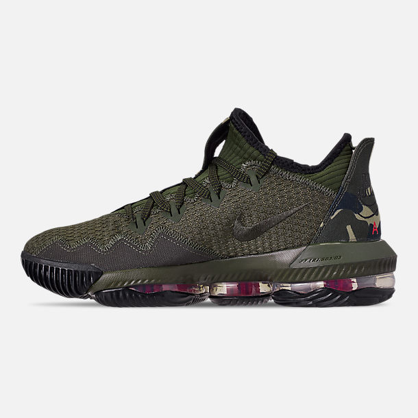 Left view of Men's Nike LeBron 16 Low Basketball Shoes in Cargo Khaki/Black/Neutral Olive