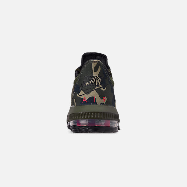 Back view of Men's Nike LeBron 16 Low Basketball Shoes in Cargo Khaki/Black/Neutral Olive