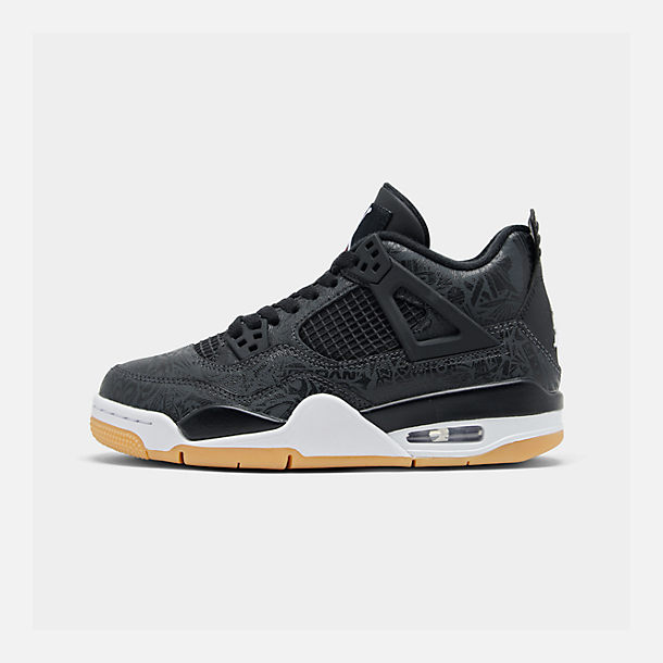 Right view of Big Kids' Air Jordan Retro 4 SE Basketball Shoes in Black/White/Gum/Nubuck