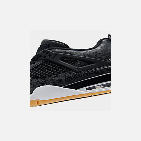 Front view of Big Kids' Air Jordan Retro 4 SE Basketball Shoes in Black/White/Gum/Nubuck
