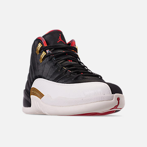 Three Quarter view of Men's Air Jordan Retro 12 Chinese New Year Basketball Shoes in Black/True Red/Sail/Metallic Gold