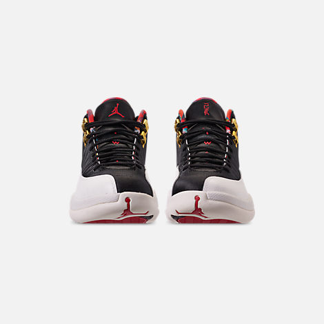 Front view of Men's Air Jordan Retro 12 Chinese New Year Basketball Shoes in Black/True Red/Sail/Metallic Gold