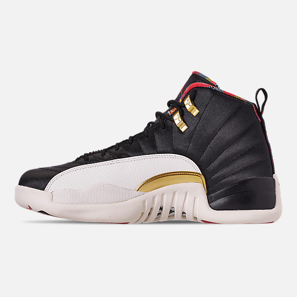 Left view of Men's Air Jordan Retro 12 Chinese New Year Basketball Shoes in Black/True Red/Sail/Metallic Gold