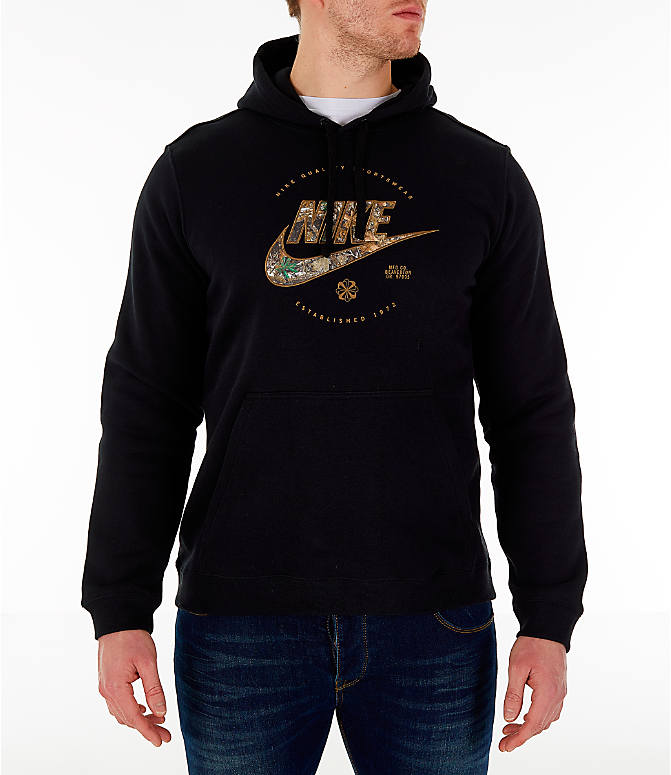 Front view of Men s Nike Sportswear Realtree Hoodie in Black Realtree f9af554b032e