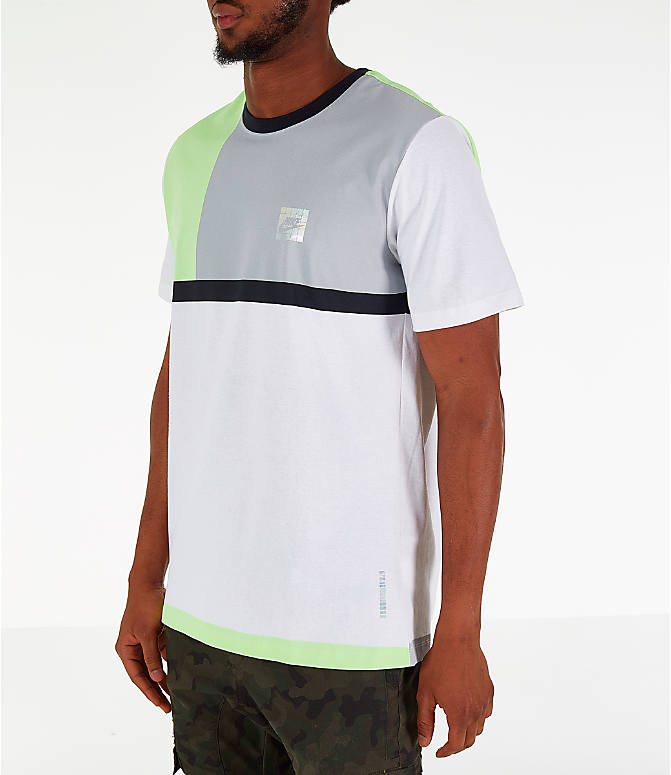 Front Three Quarter view of Men's Nike Y2K T-Shirt in White/Volt