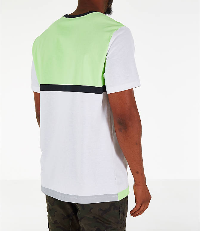 Back Right view of Men's Nike Y2K T-Shirt in White/Volt