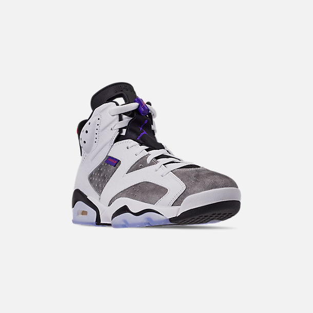 Three Quarter view of Men's Jordan Retro 6 LTR Basketball Shoes in Light Armory Blue/Dark Concord/Obsidian